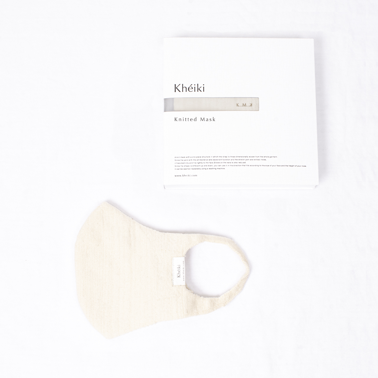 Knitted Mask 2pcs Set / KMK / Mercerized Long Staple Cotton / #Ecru