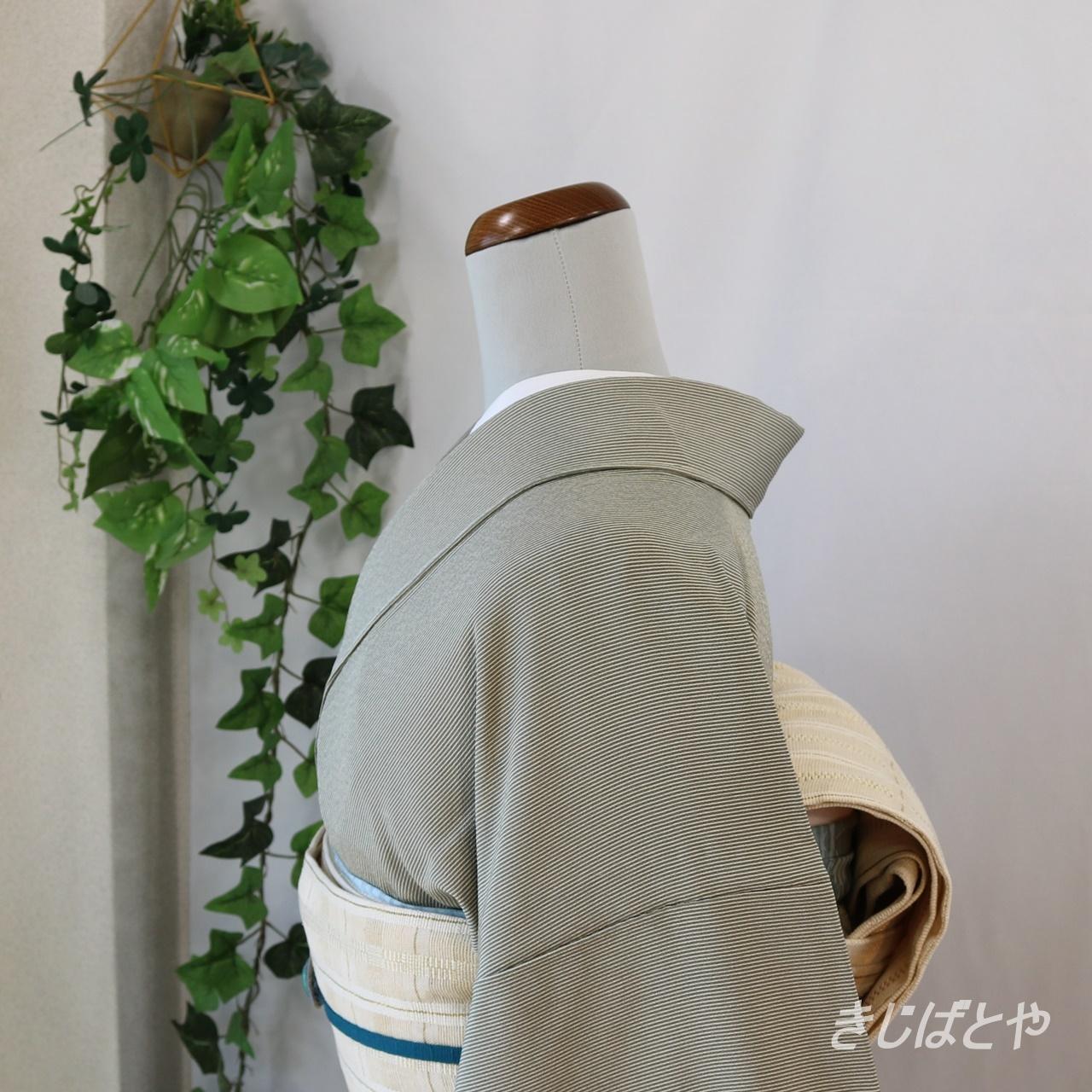 正絹ちりめん 利休鼠の縞の江戸小紋 単衣