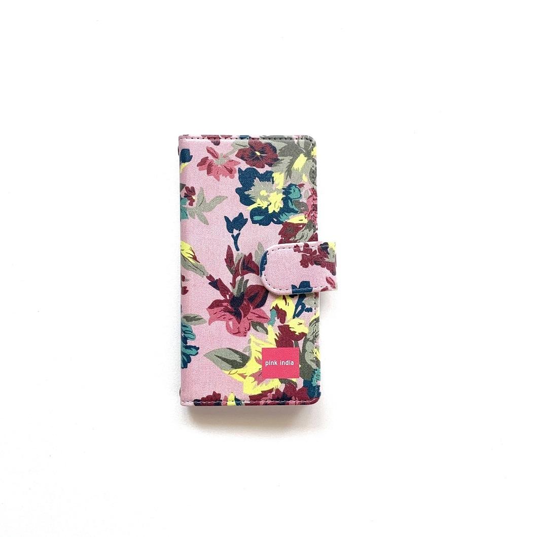 北欧デザイン Android対応手帳型マルチケース    pink flower