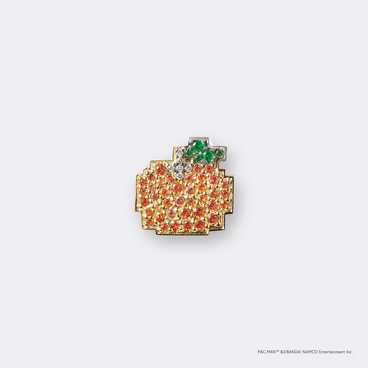 PAC-MAN  (パックマン) K18YG・ボーナスフルーツ オレンジ/ グリーンガーネット オレンジサファイア ・ダイヤモンドピンバッジ