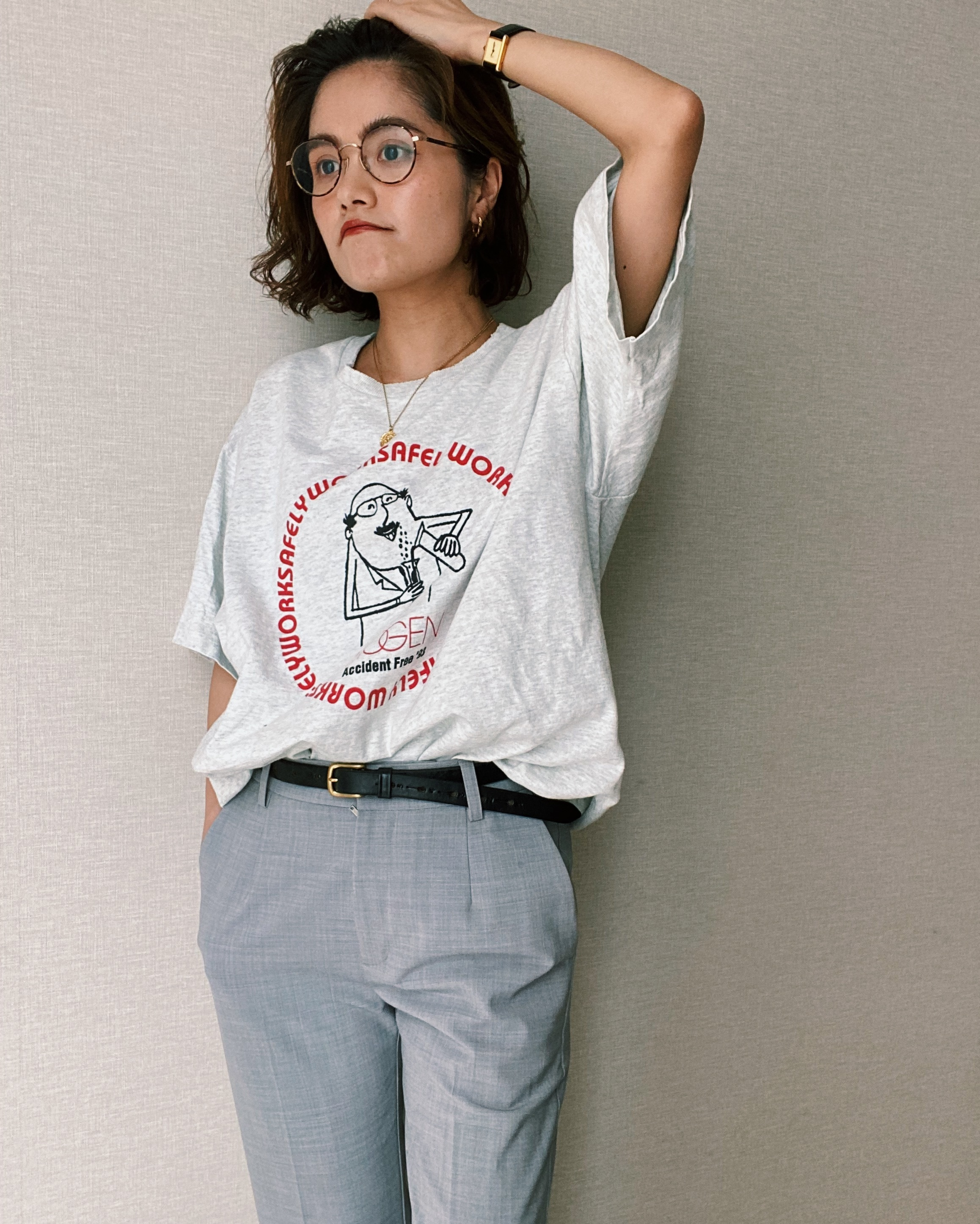 (CS264)90's FRUIT OF THE LOOM printed T-shirt made in USA