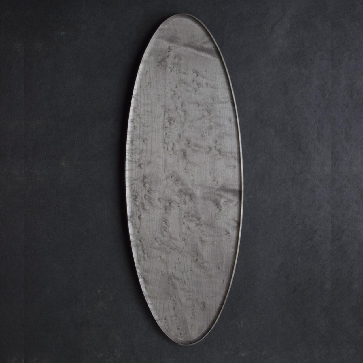 北山栄太 Eita Kitayama  オーバルプレート バーズアイメイプル B (鉄媒染+ガラスコーティング)
