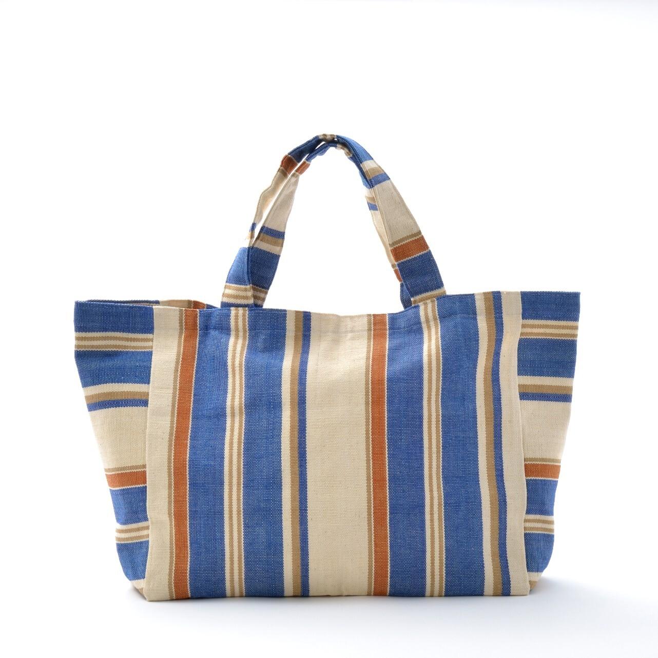 手織りビーチバック 茶×青L(再入荷)