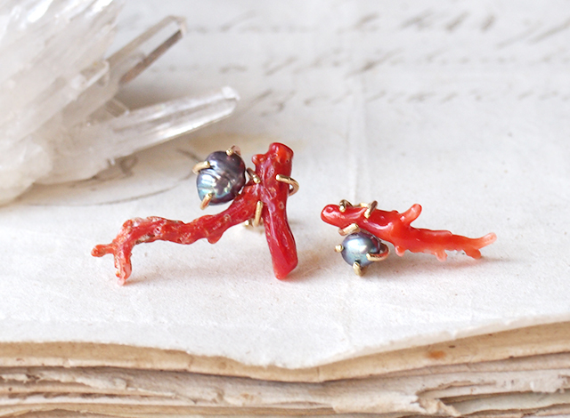 【一点物】枝サンゴとグレーパールのピアス