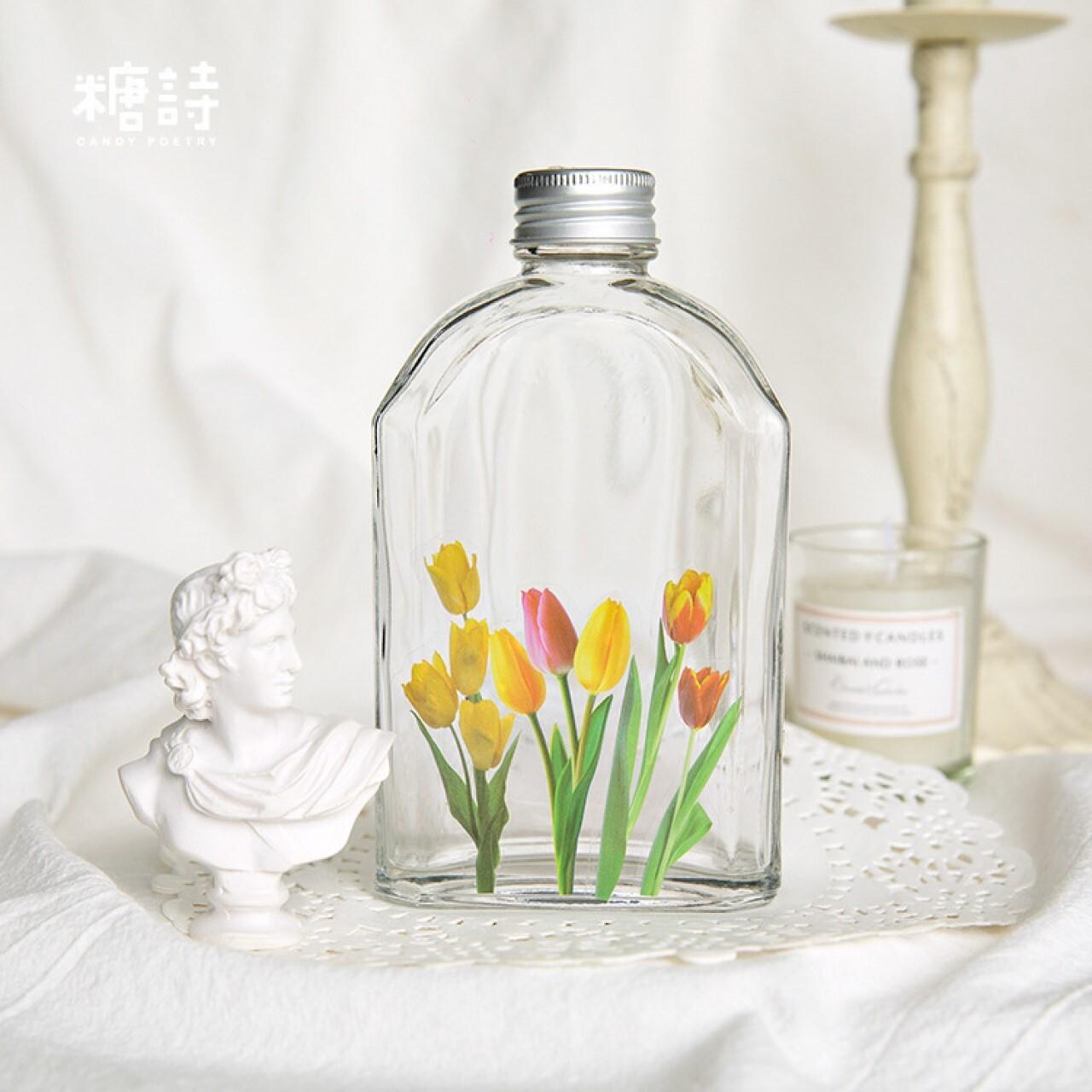 D25 花 シール 40枚 全6種 PET素材 海外 シール 植物 コラージュ ジャンクジャーナル 素材