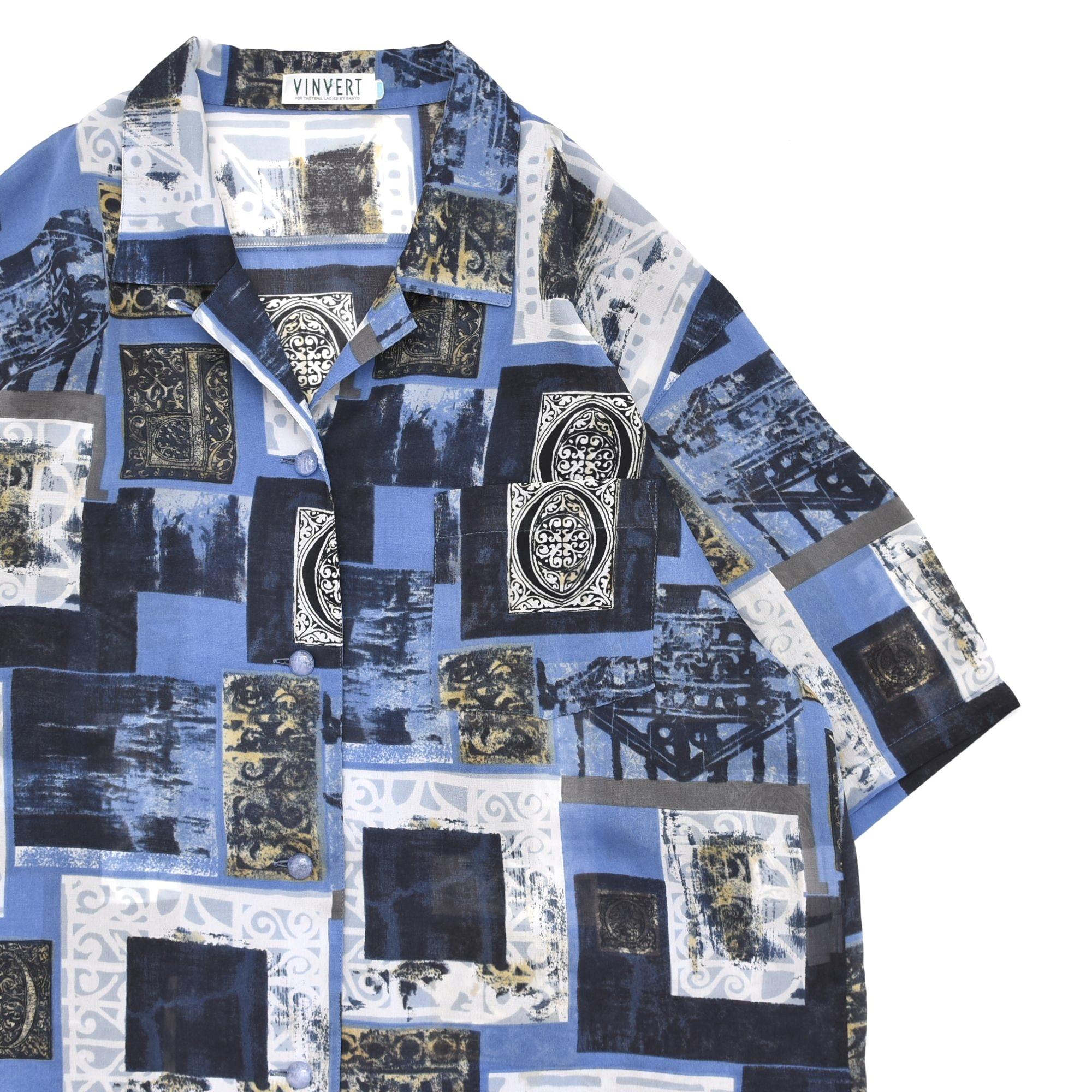 Art design pattern open collar shirt