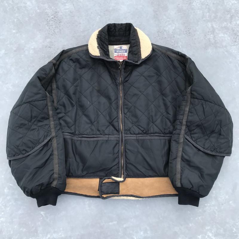 80's 90's CHEVINGNON シェビニオン ボンバージャケット ブラック キルティング ムートン フランス L 珍品 希少 ヴィンテージ