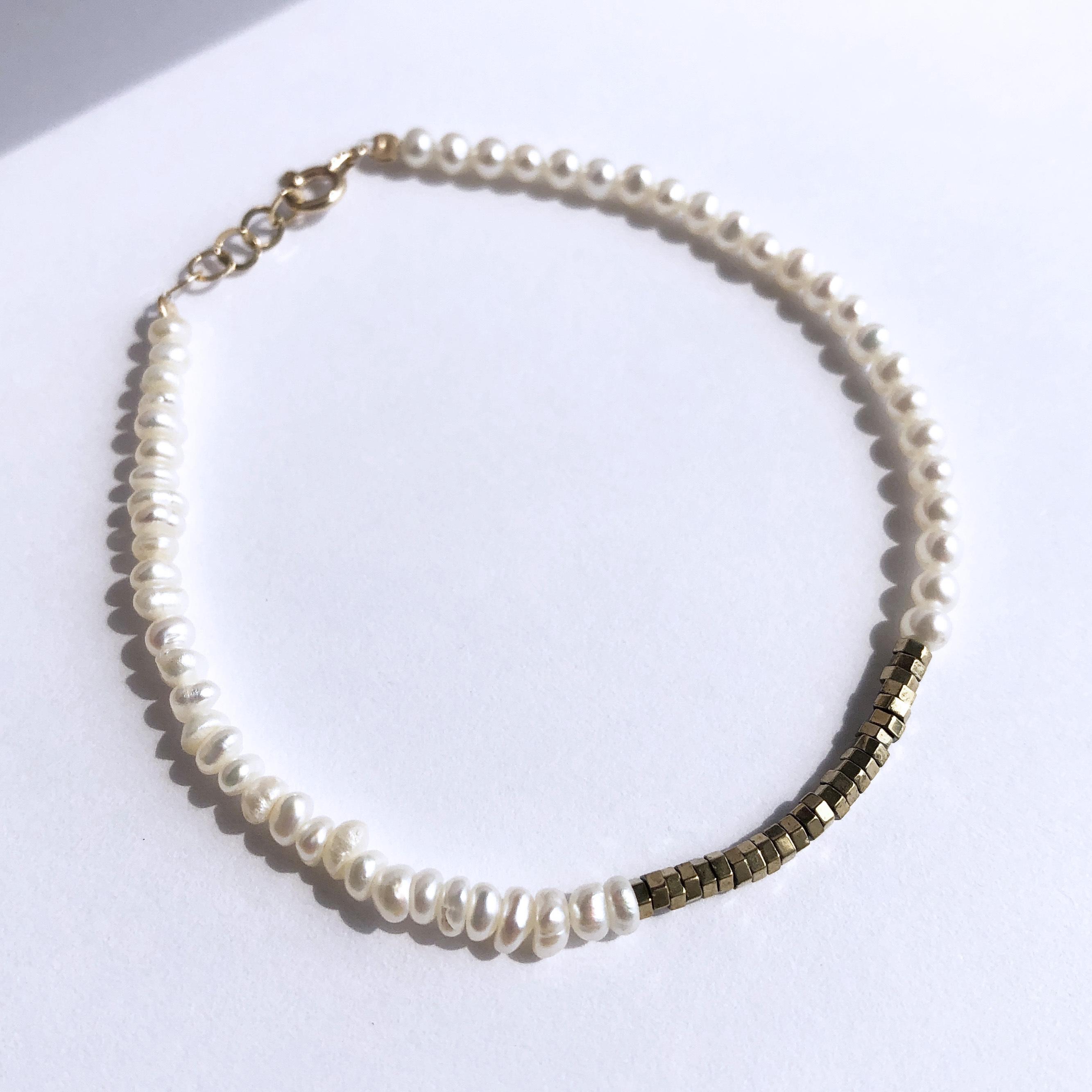 K10YG  Baroque Pearl x Pyrite Bracelet / チャリティージュエリー