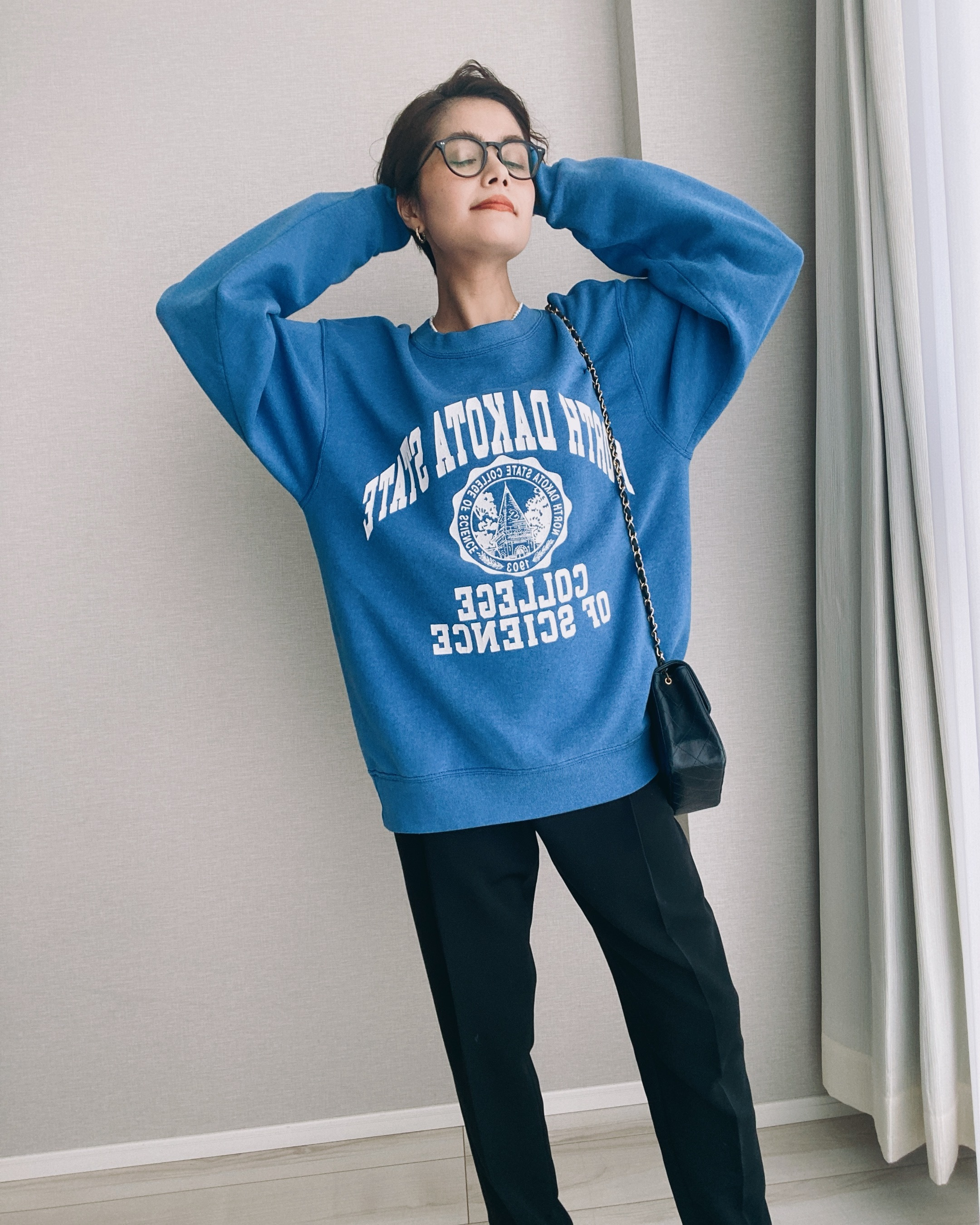 (CS470)90's SOFFE college logo sweat made in USA