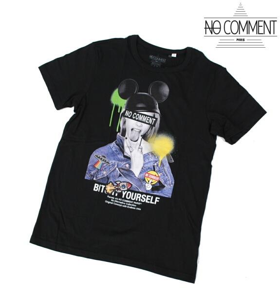 NO COMMENT PARIS ノーコメント パリ Tシャツ 半袖 クルーネック Tシャツ メンズ 2021年モデル 正規販売店 LTN277 ブラック