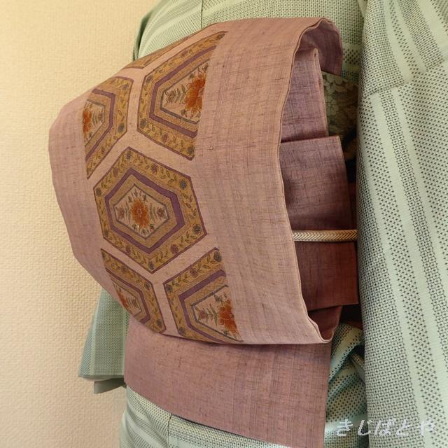 正絹紬 淡い紫に亀甲のなごや