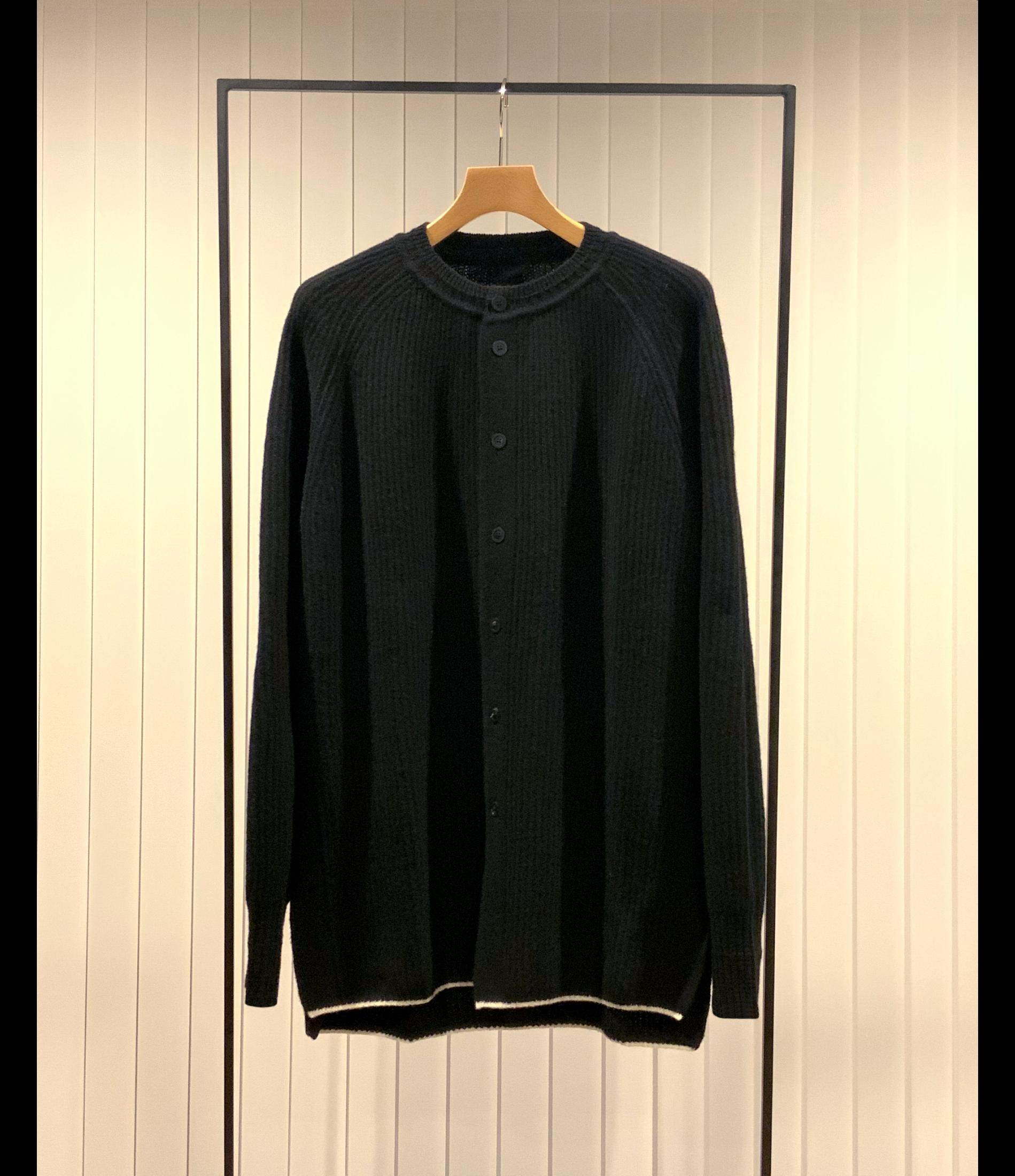 Open Front Ragran-sleeve Sweater / Black