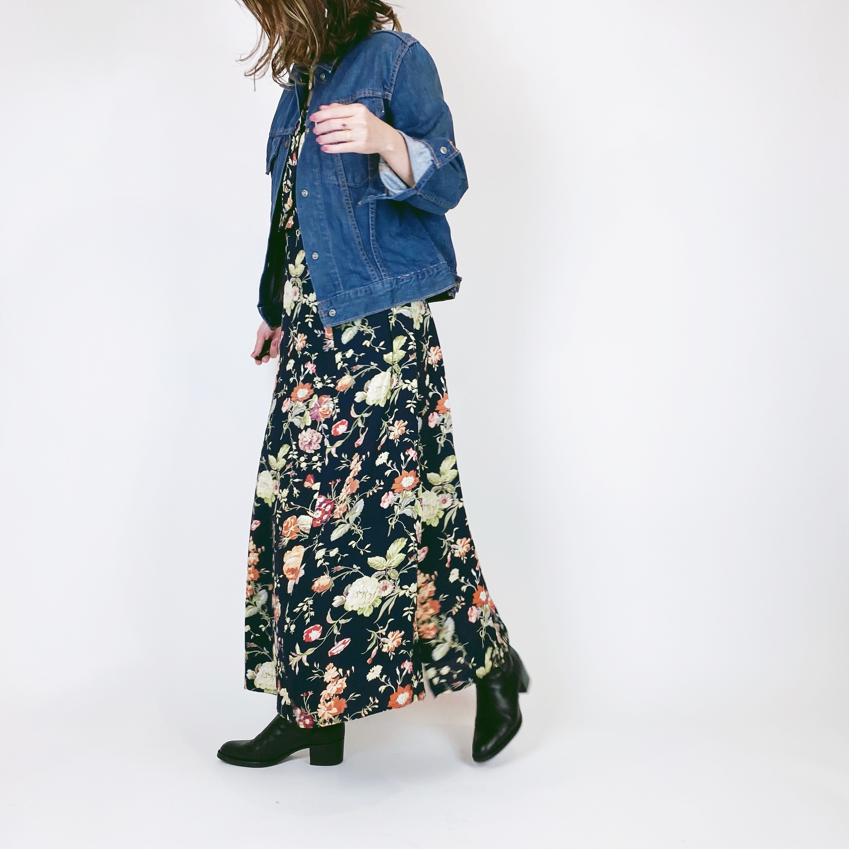 ◼︎90s botanical flower rayon vest dress from Denmark◼︎
