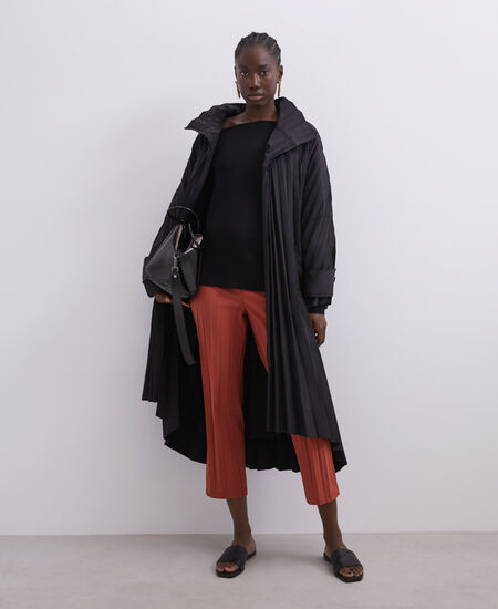 NARROW TROUSERS IN PLEATED FABRIC [268051582211]