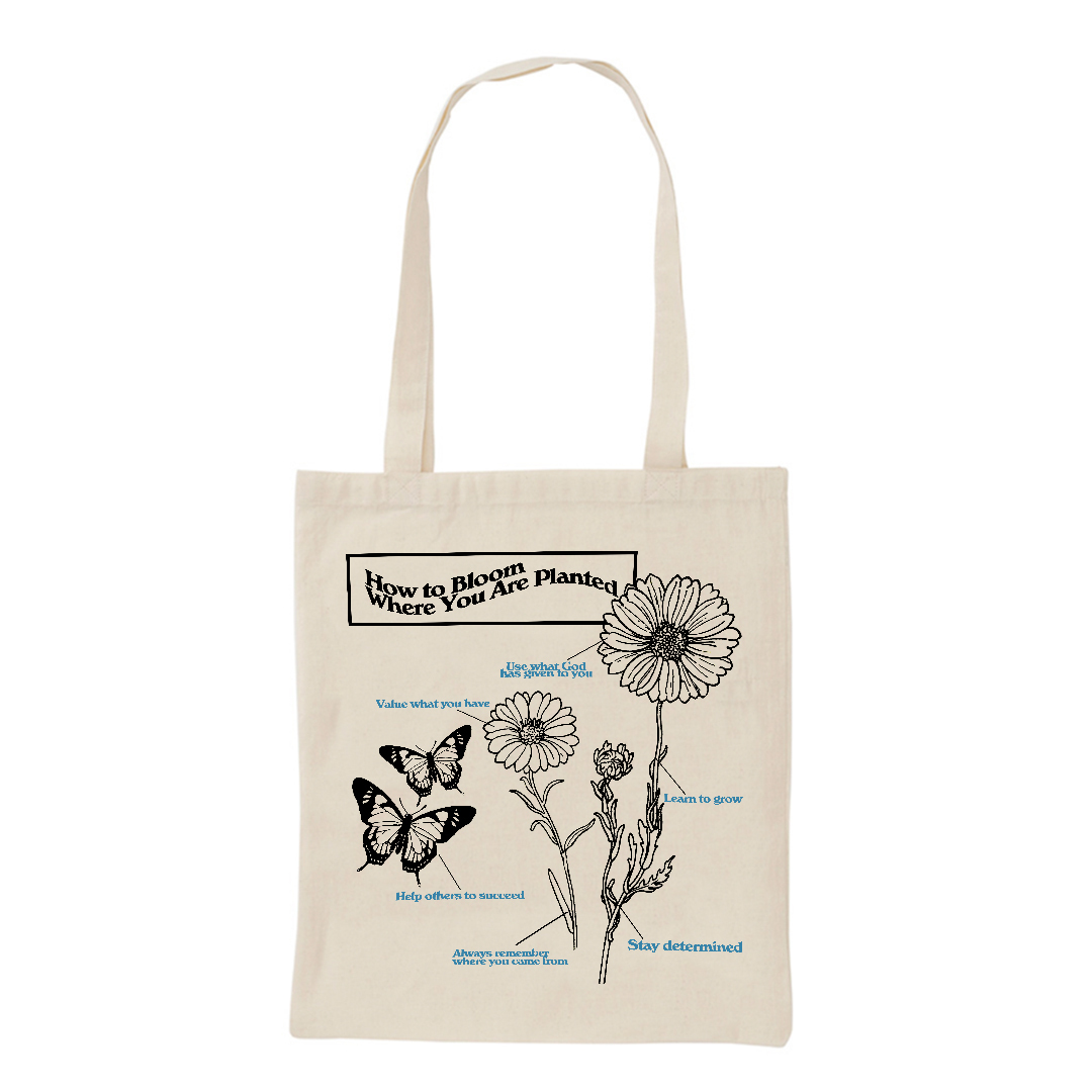 【Cat & Parfum】How to Bloom Where You Are Planted Cotton Mini Tote Bag