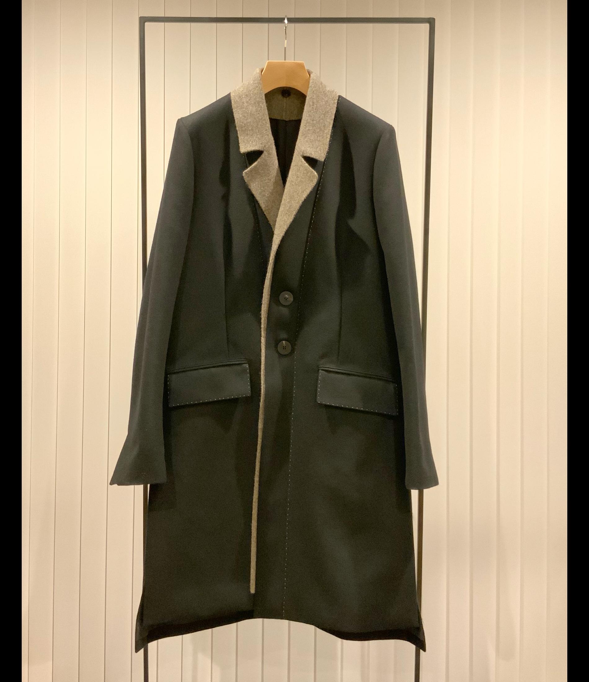 Knitted Lapel Chester Coat / Black x Greige