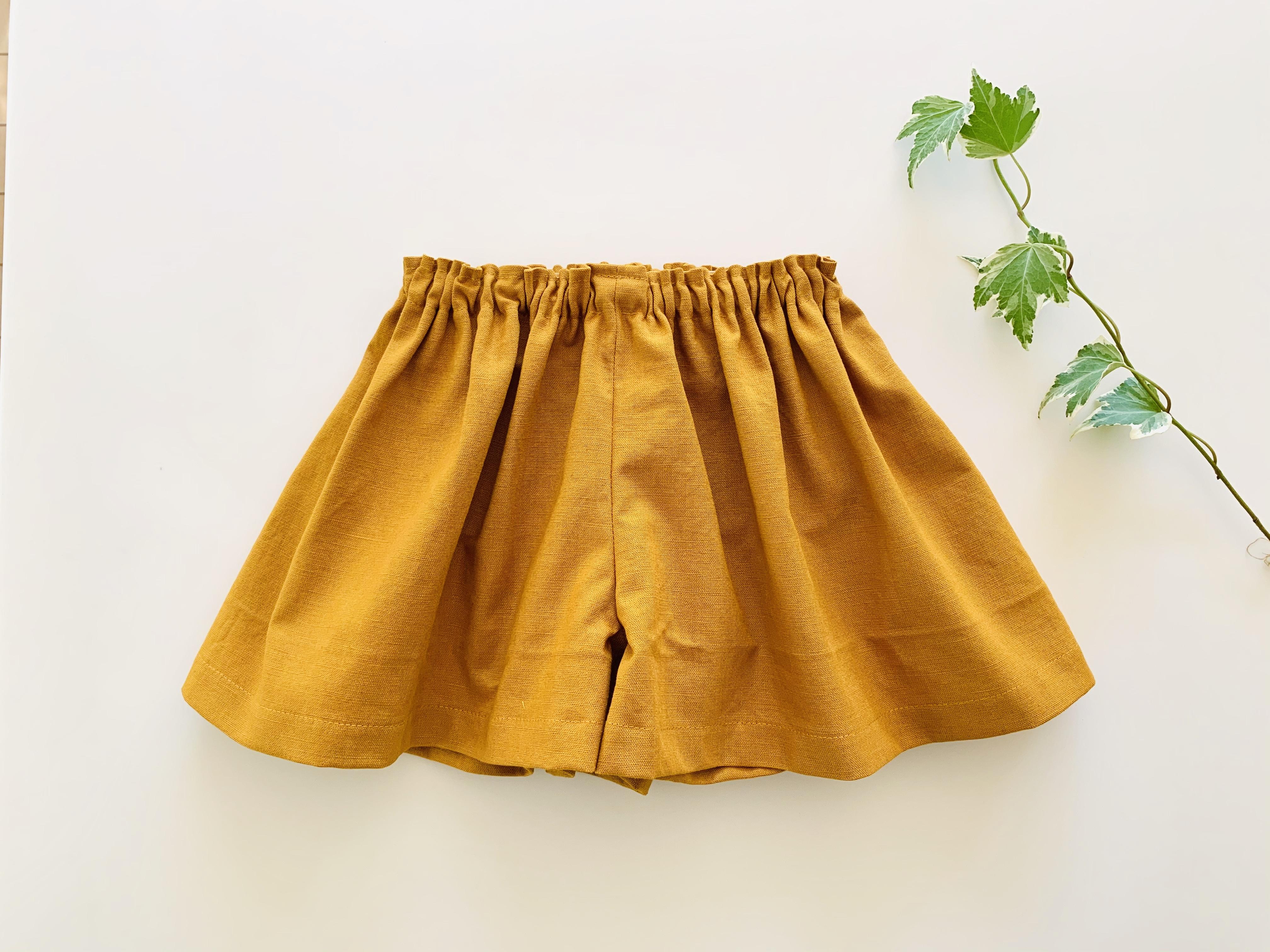 リネンのキュロットスカート 黄色 80cm