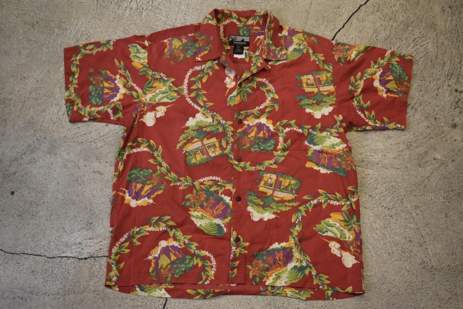 USED pataloha Haleiwa shirt Fenix red L  patagonia S0154