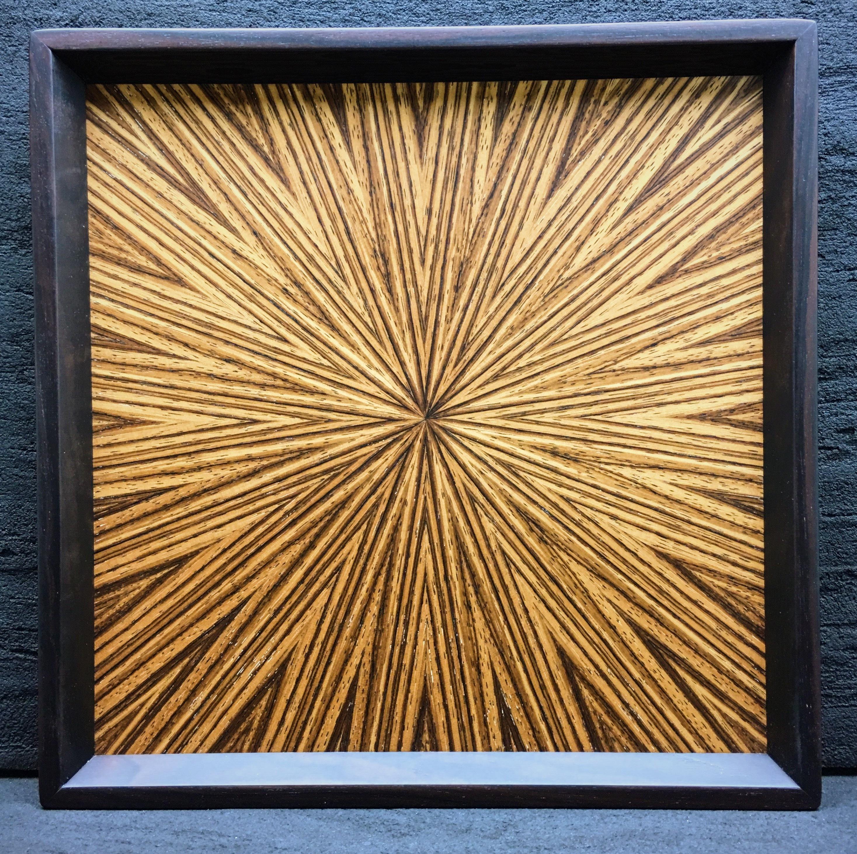 Zebra wood  光線貼り正方形のトレー  0043