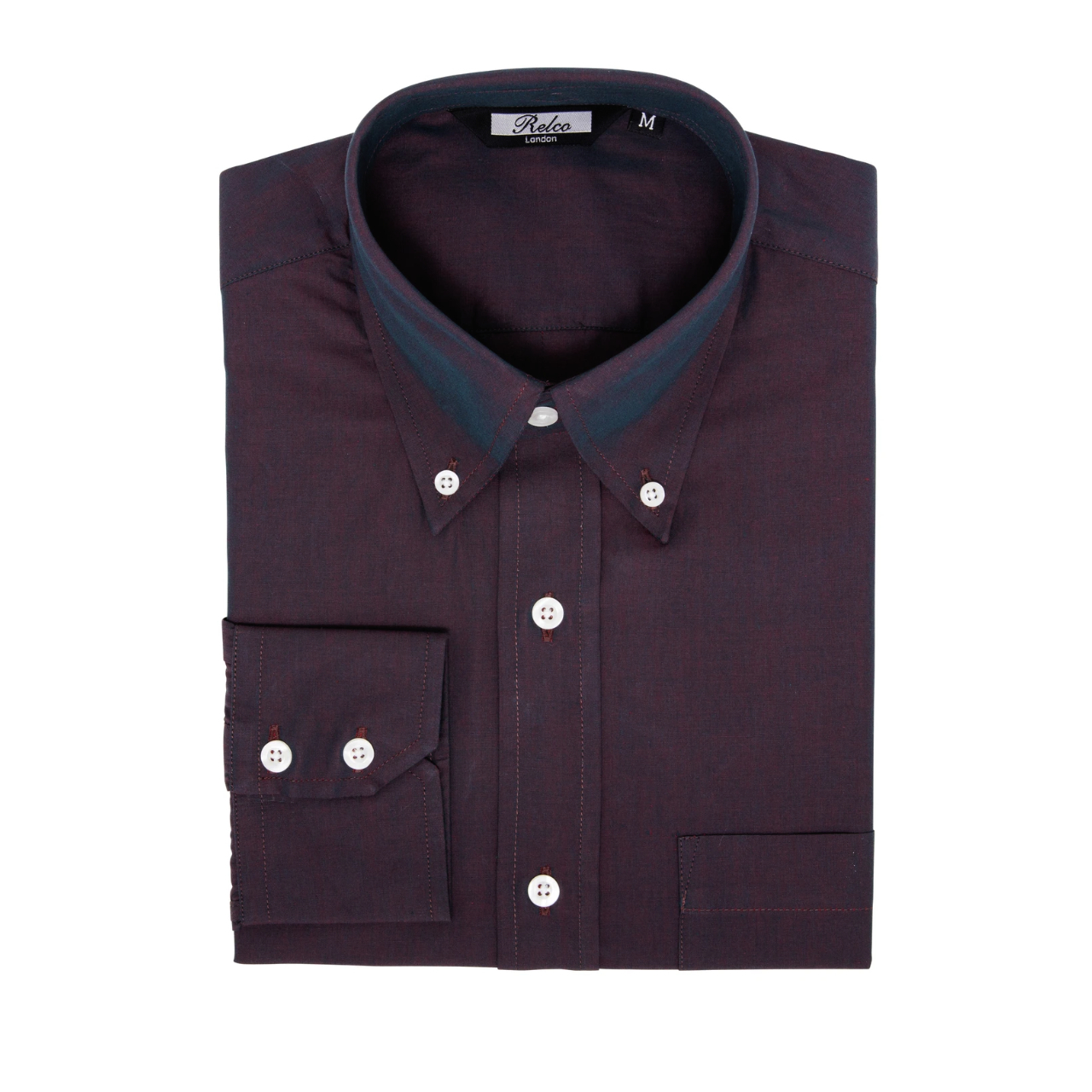 Relco London | Button Down Tonic Shirt - Burgundy