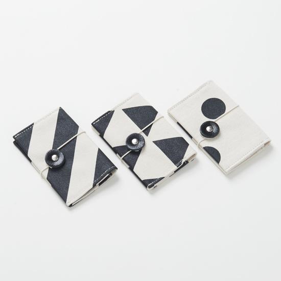 business card case/black/stripe, scale, dot カードケース / 墨 x 縞・鱗・水玉