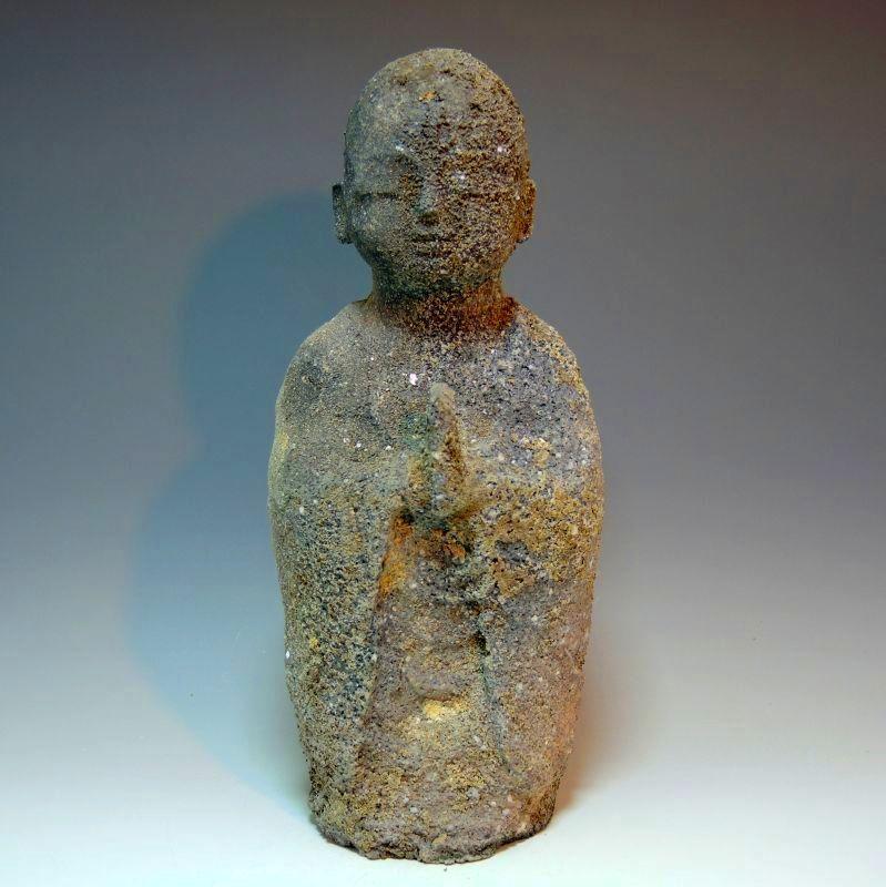 信楽焼き灰被りの仏像(船越保氏作) F26