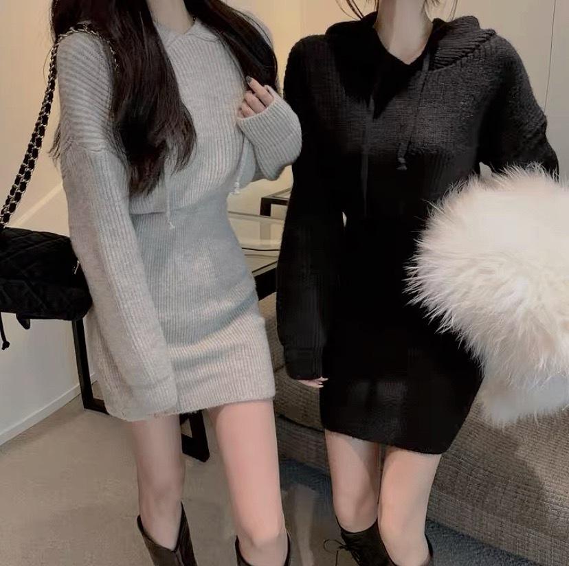 knit parker dress 3color