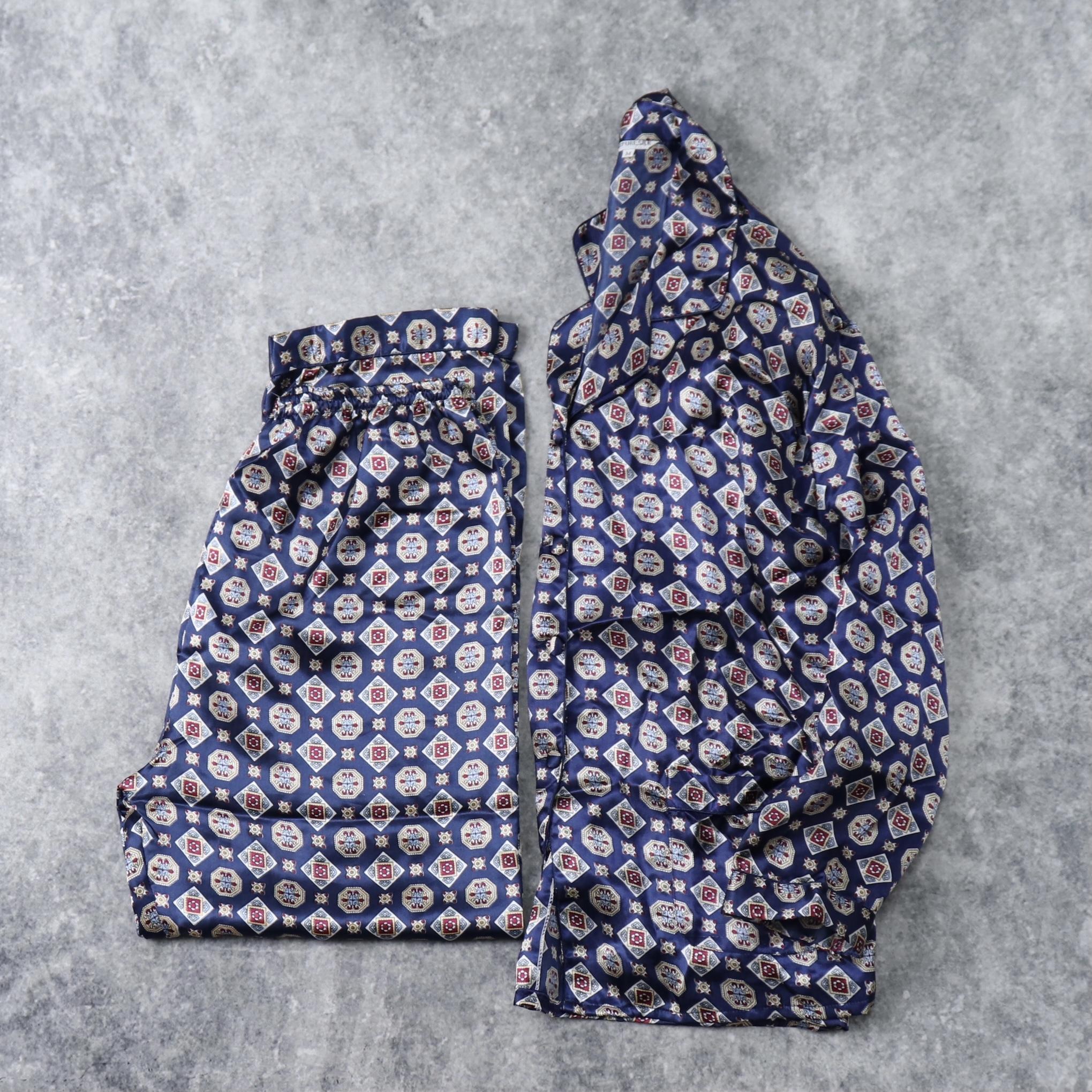 90年代 小紋柄 パジャマ シルク100% M 古着 A36