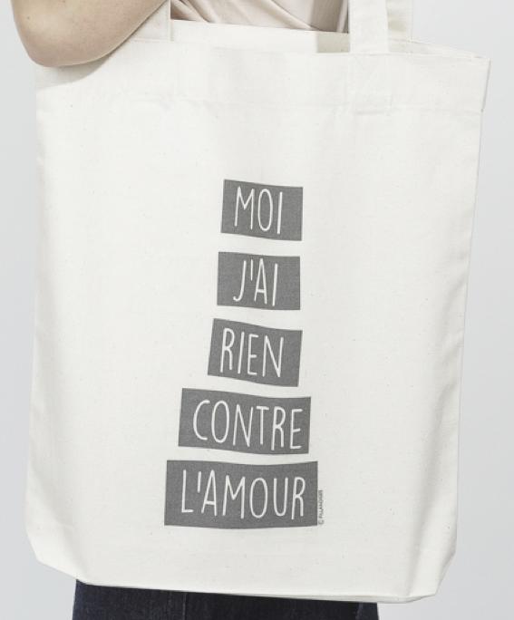 フランス小物 オーガニック・コットン製 トートバッグ『MOI J'AI RIEN CONTRE L'AMOUR』