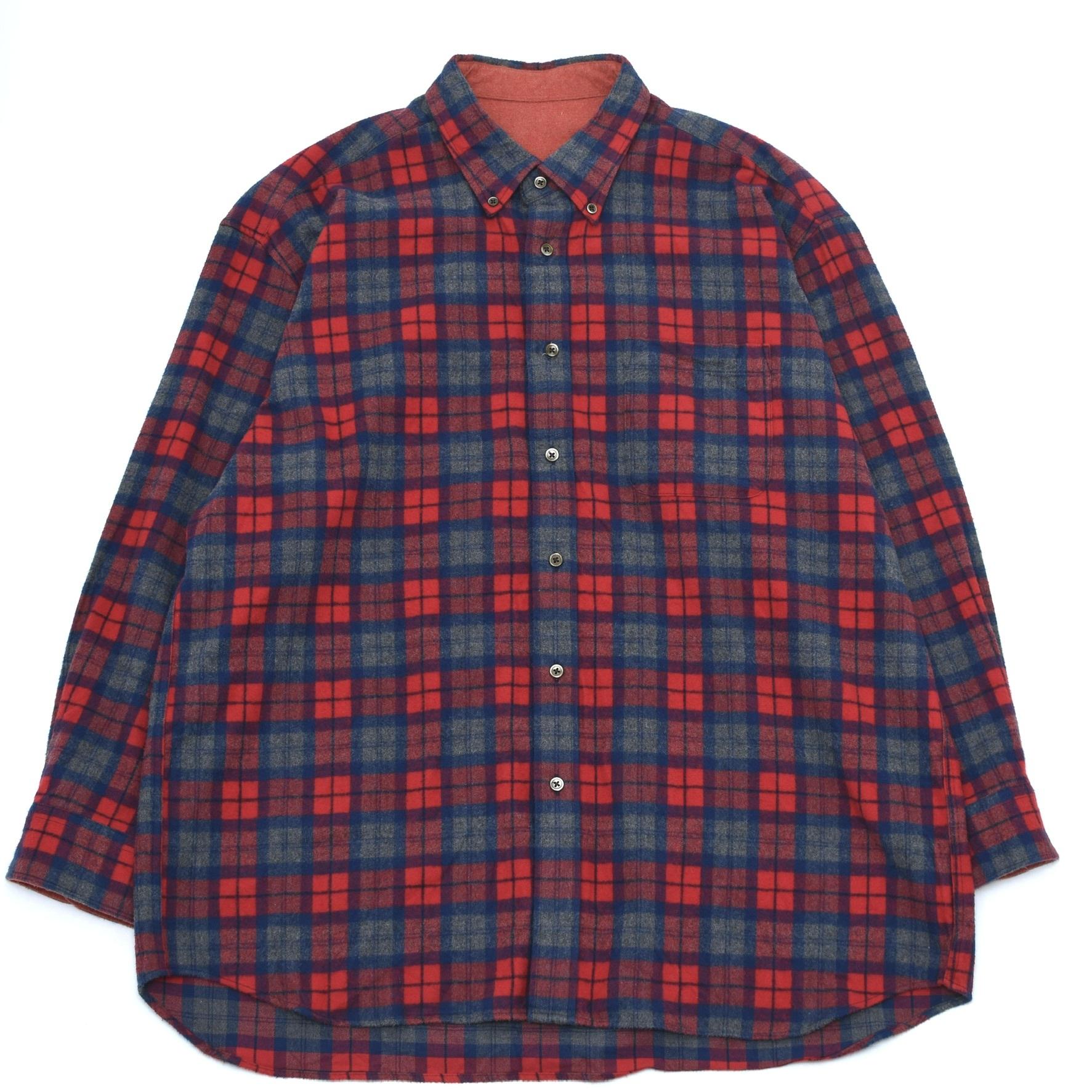Button down check flannel shirt