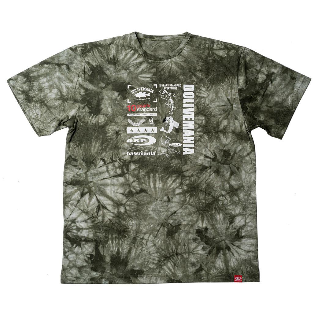 【O.S.P×bassmania】  ミックスデザインタイダイTシャツ [ タイダイカーキ ]【限定受注販売】【7月上旬配送】