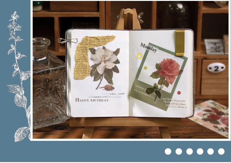 N26 硫酸紙 シール ステッカー 全6種 花柄 ボタニカル 薔薇 パンジー 赤 黄 紫 青 ピンク モノクロ フラワー レトロ