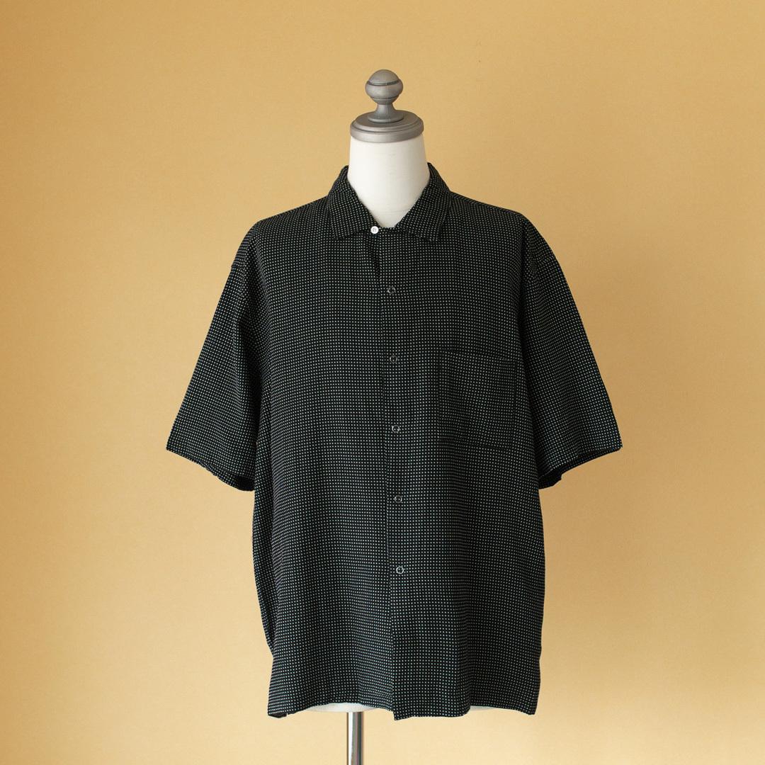 Manual Alphabet マニュアルアルファベット 刺し子オープンカラーシャツ・ブラック
