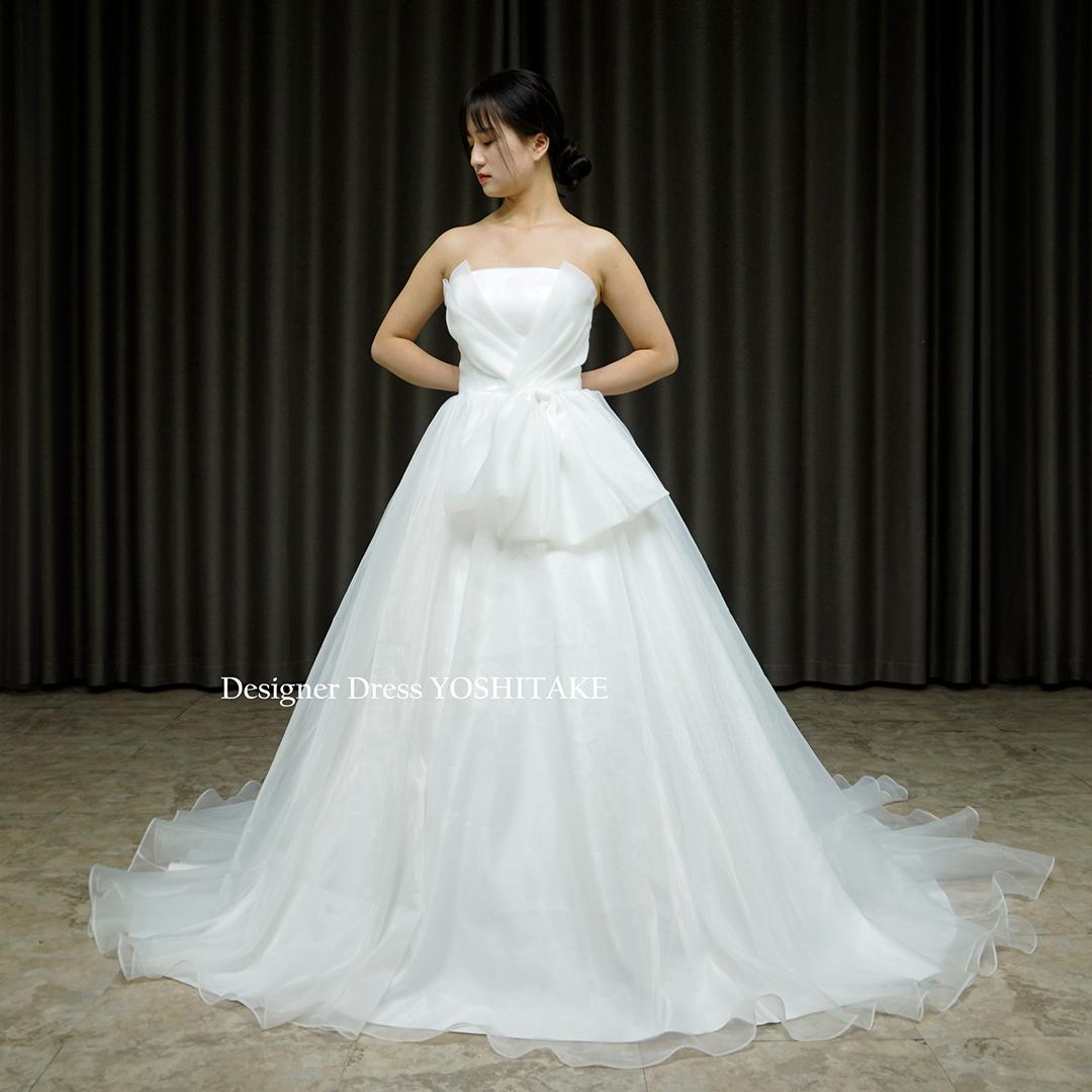 【オーダー制作】ウエディングドレス(無料パニエ) シンプルだけどよく考えられた白挙式用ウエディングドレス(パニエ付)結婚式/挙式※制作期間3週間から6週間