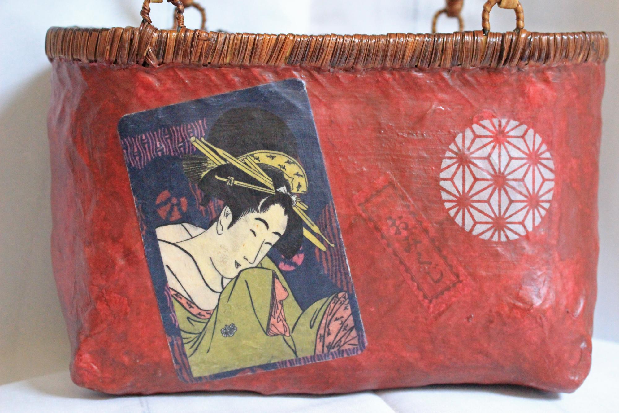 おみくじ入り和紙赤色浮世絵美人画かごバッグSサイズ