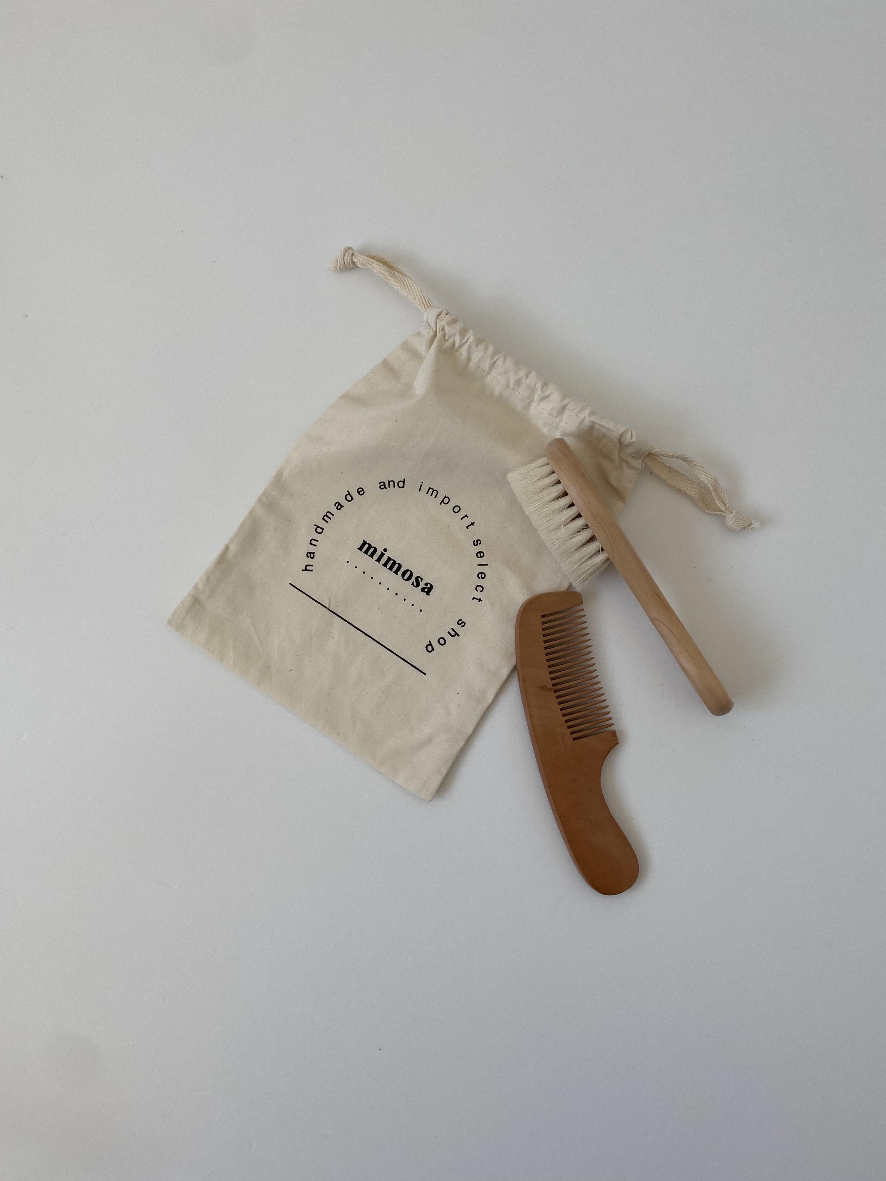 hair brush  & comb  (コットン巾着セット)