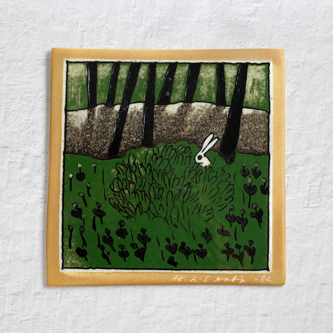 Arabia アラビア Helja Liukko-Sundstrom ヘルヤ リウッコ スンドストロム 茂みのうさぎの陶板 - 2 北欧ヴィンテージ