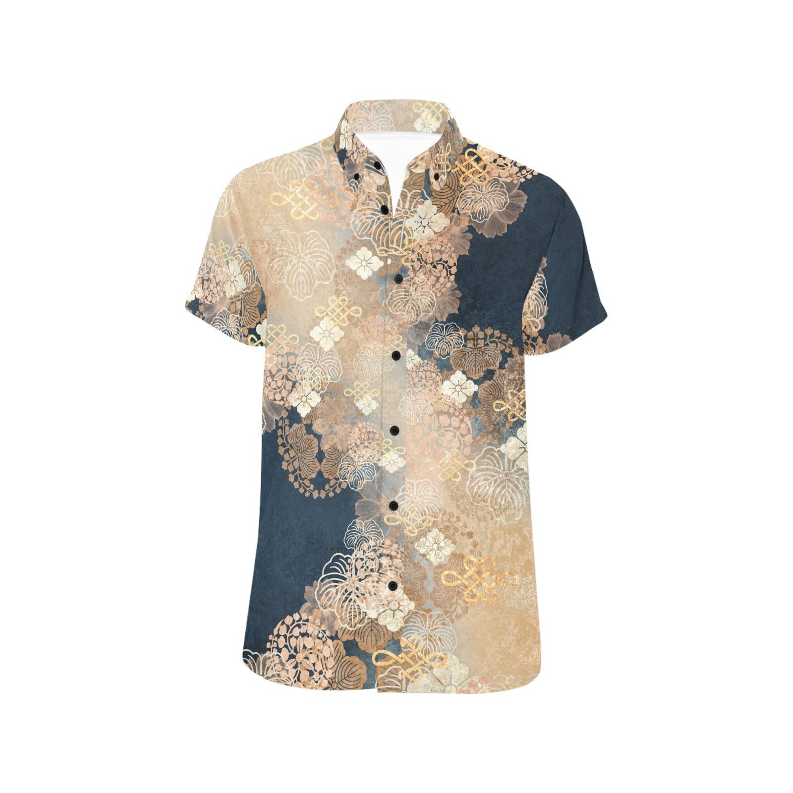 家紋装飾ブルーベージュ ユニセックス半袖シャツ
