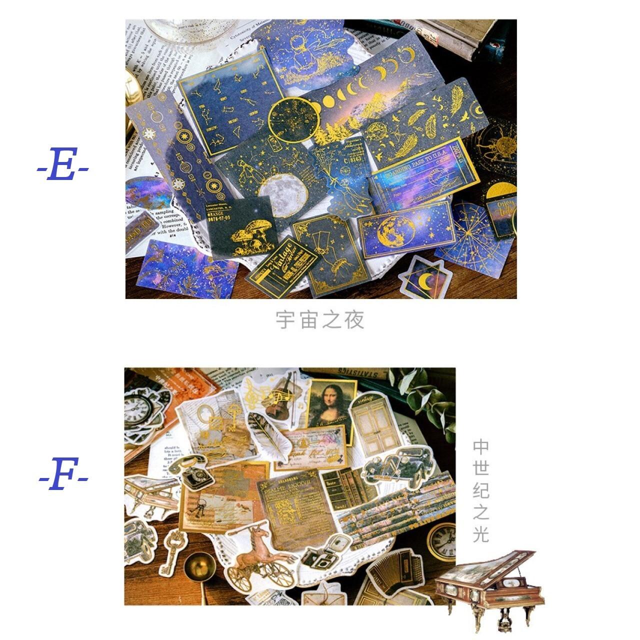 箔押 レトロステッカー ルネサンスシリーズ シール コラージュ ほぼ日手帳 ジャンクジャーナル D36