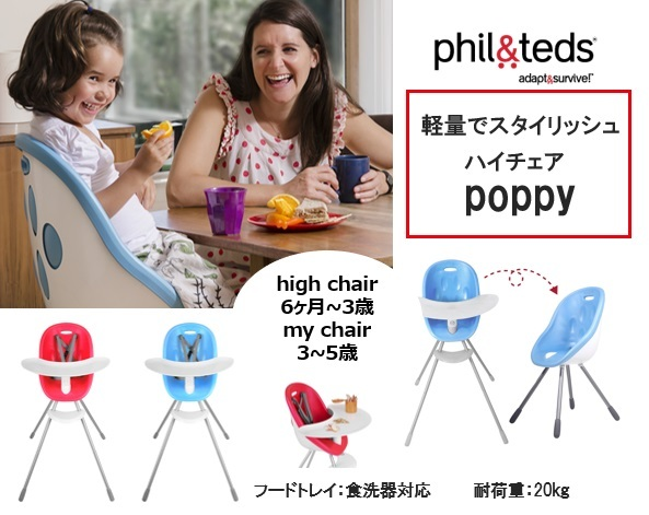 phil&teds poppy high chair  フィルアンドテッズ ハイチェアー ポピー (ライム緑のみ )