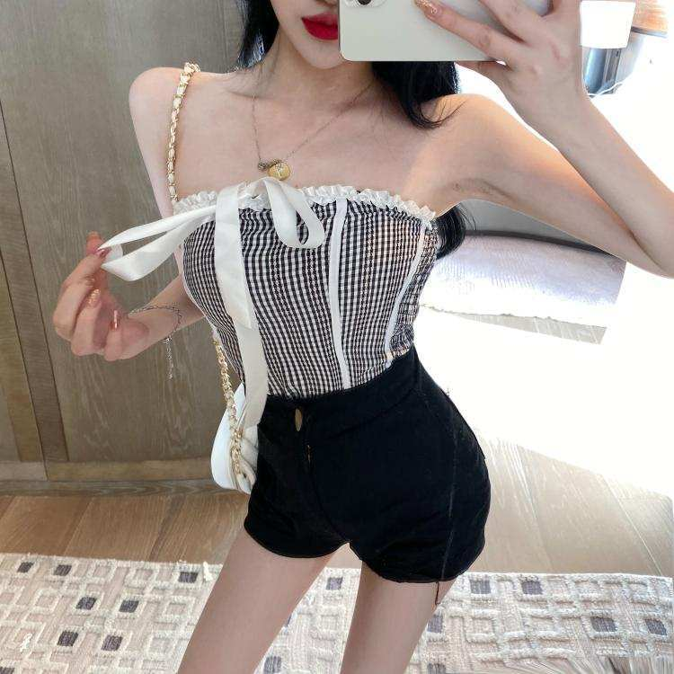gingham bare top