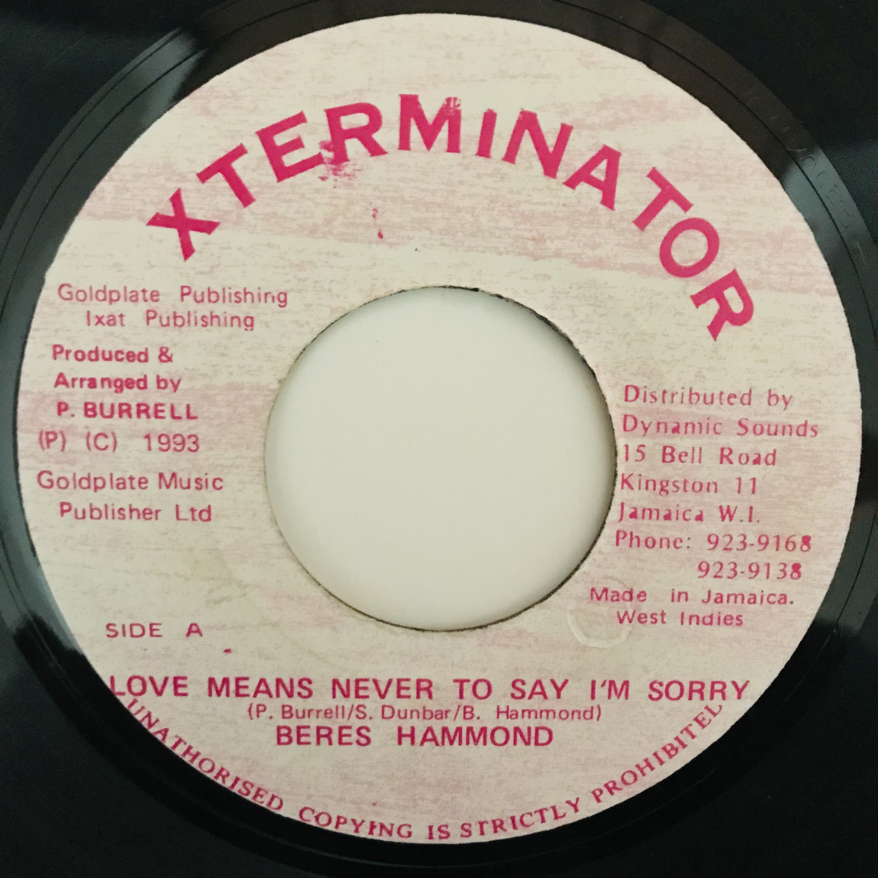 Beres Hammond - Love Means Never To Say I'm Sorry【7-10989】