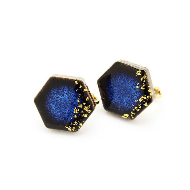 陶器 美濃焼 六角形 星屑 イヤリング&ピアス 藍色 伝統工芸品