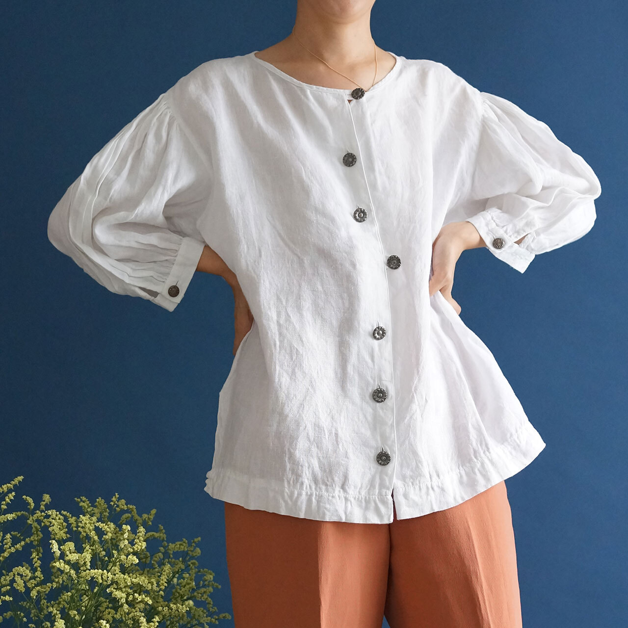 【送料無料】80's-90's vintage white linen puffed balloon sleeve blouse(80年代-90年代 アンティーク 古着 レース ブラウス)