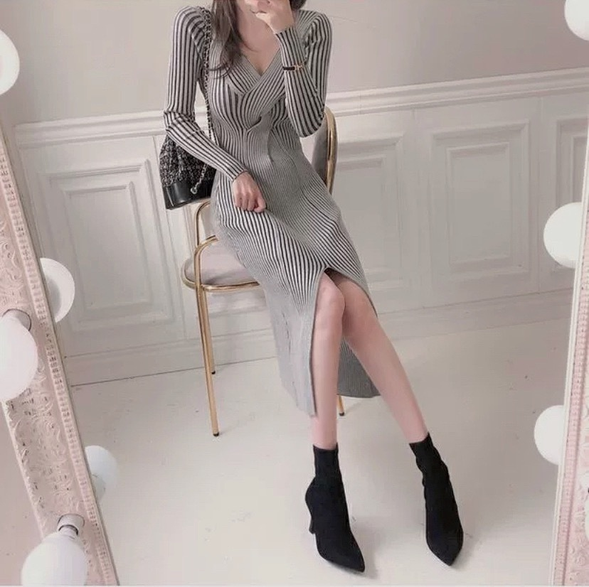 stripe center cut dress
