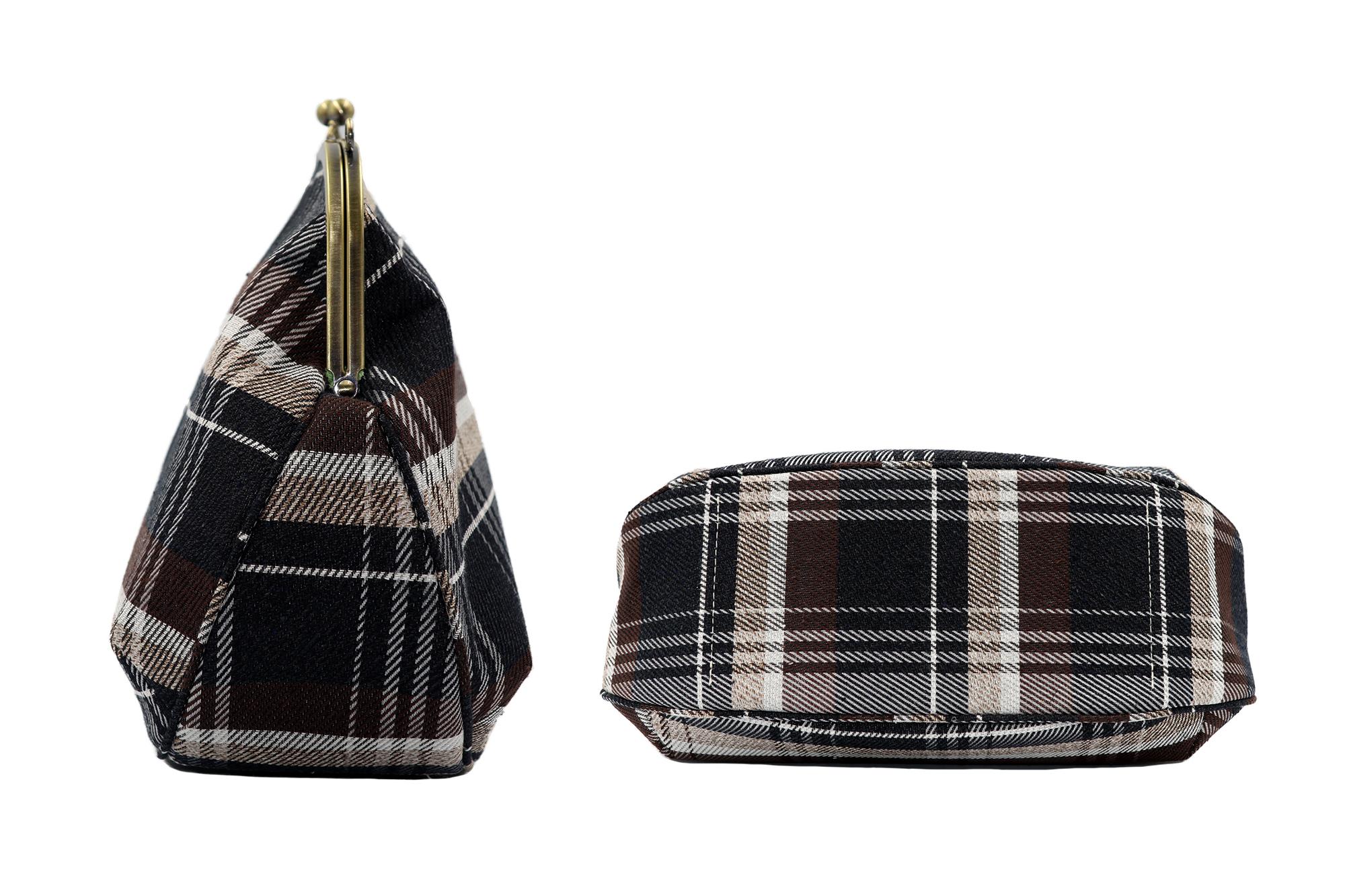 Atelier Kyoto Nishijin/撥水加工・西陣織シルクネップ・がまぐちポシェット・メランジチェック・日本製