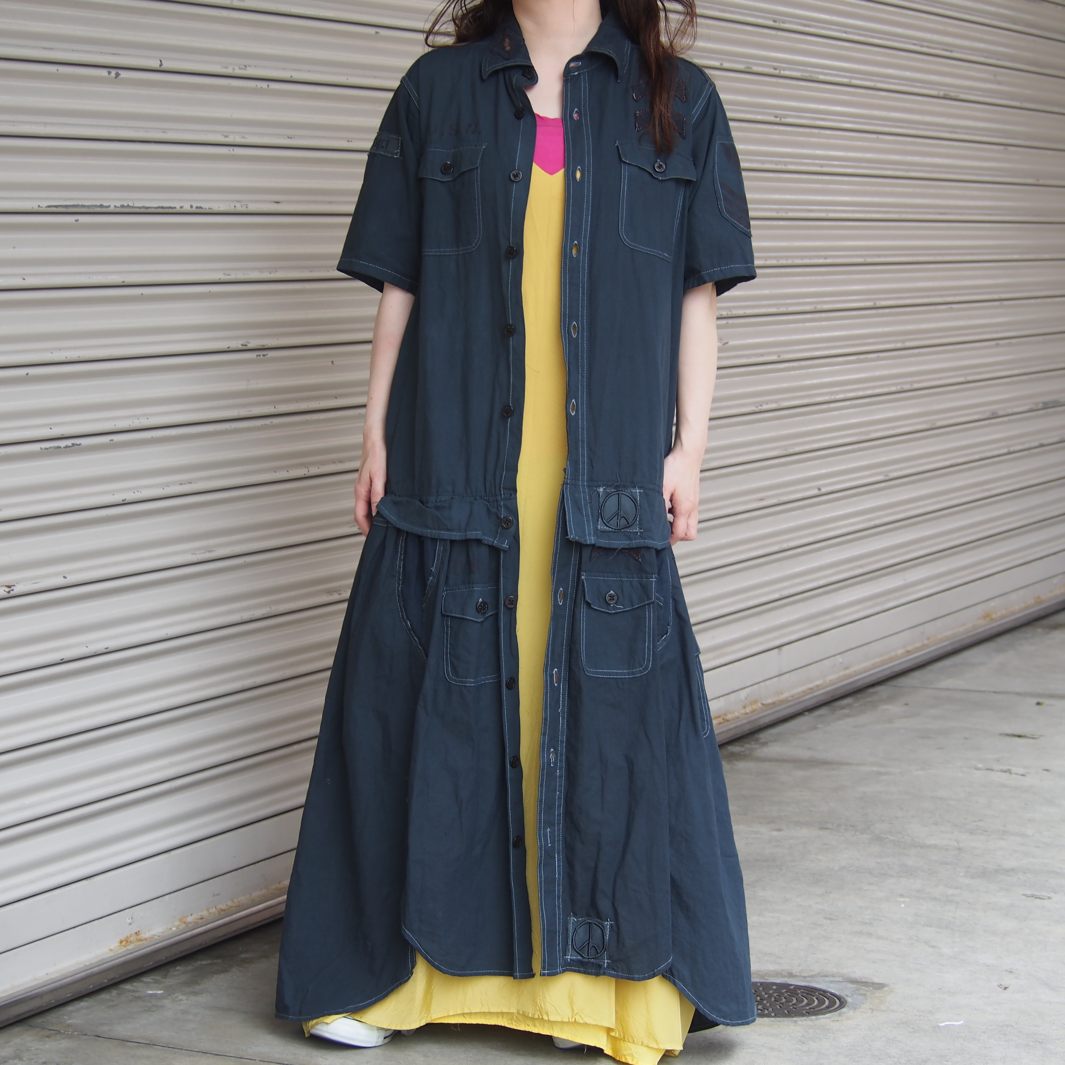 【sandglass】Dark Knight shirt custom one piece(B) / 【サンドグラス】ダークナイト シャツ カスタム ワンピース(B)