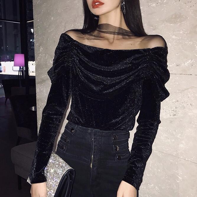 glitter mesh shoulder tops