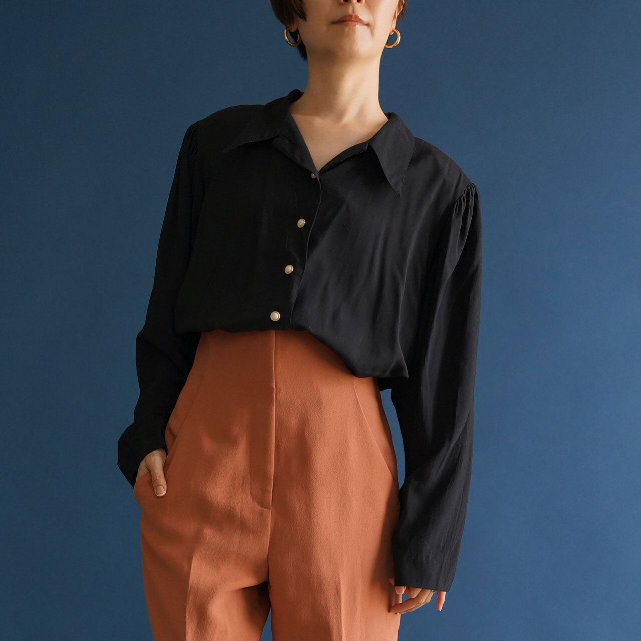 【POP UP出店予定】80's-90's vintage black blouse long sleeve(80年〜90年代  古着 ブラック ロングスリーブ ブラウス)