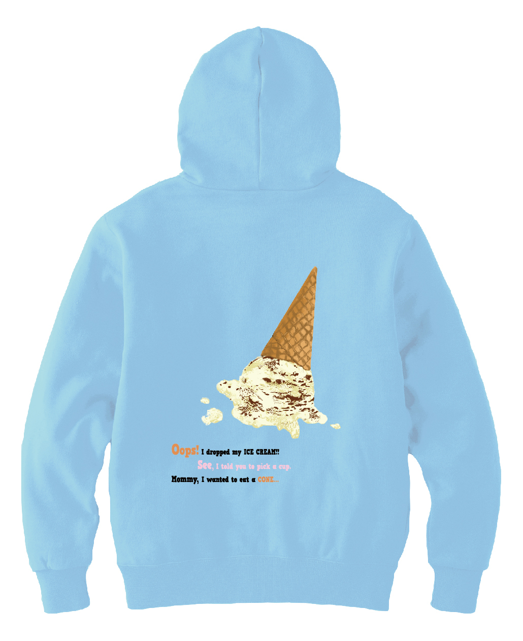fallen ice cream パーカー(ライトブルー)